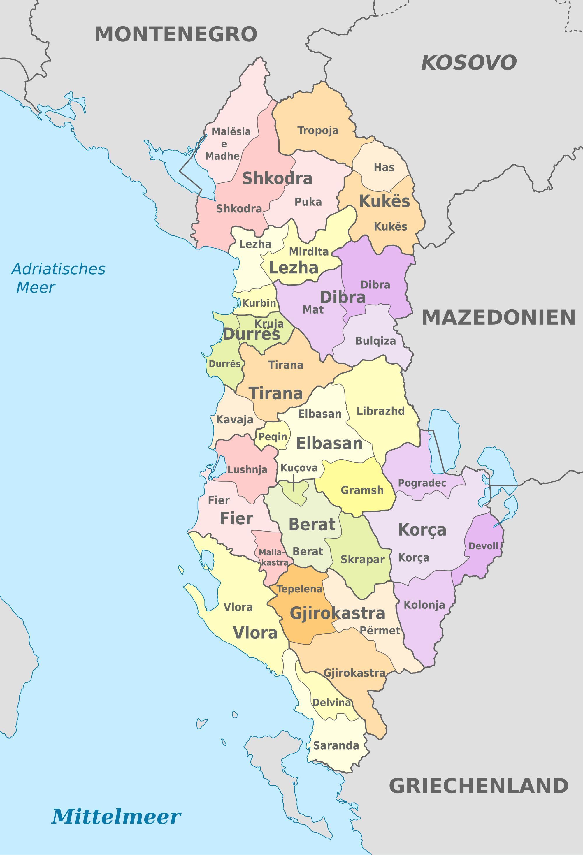 karta albanije Albanija političke karte   karta Albanije političke (Južna Europa  karta albanije