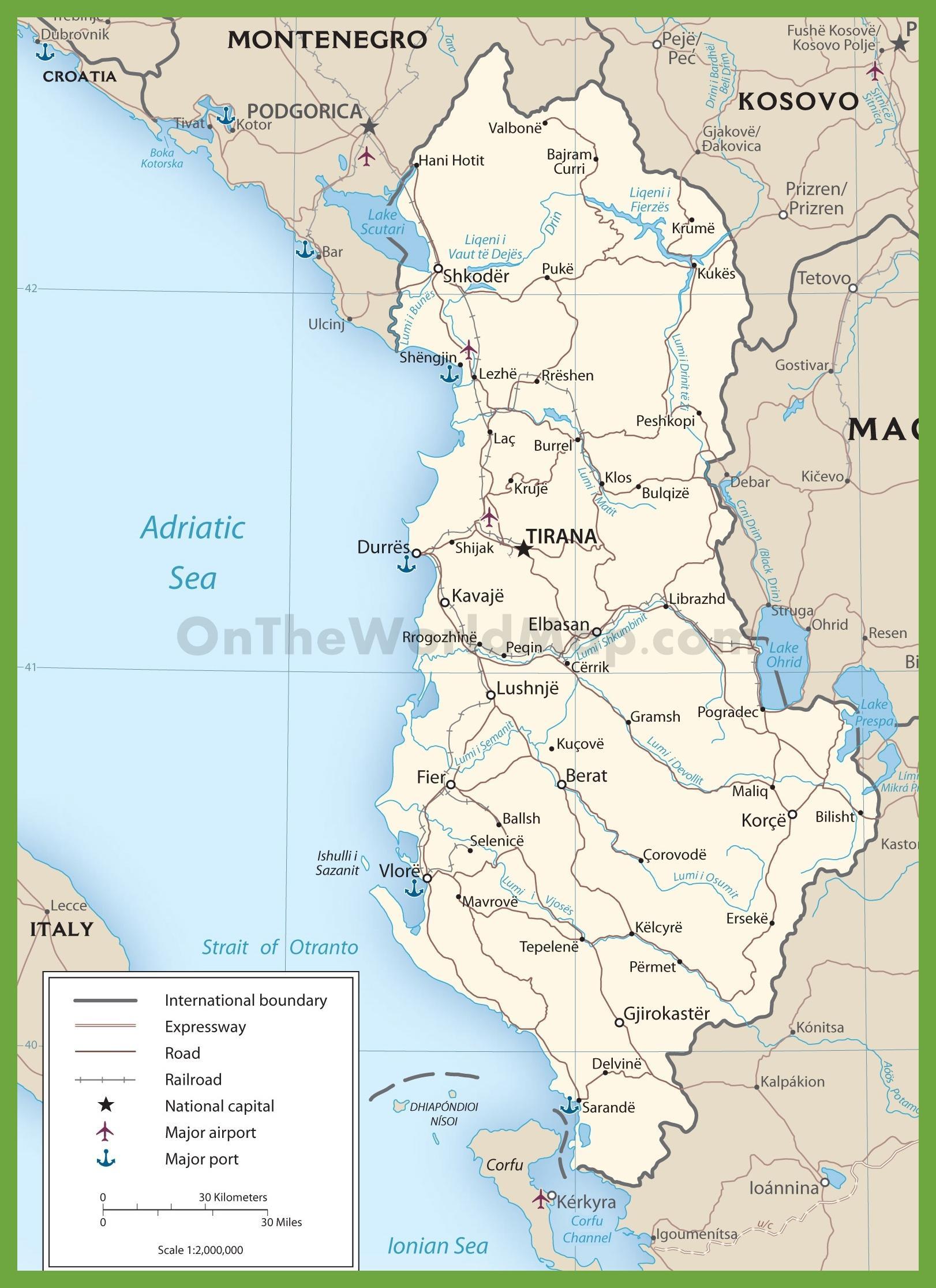 Albanija Auto Karta Albanije Karta Cesta Juzna Europa Europa