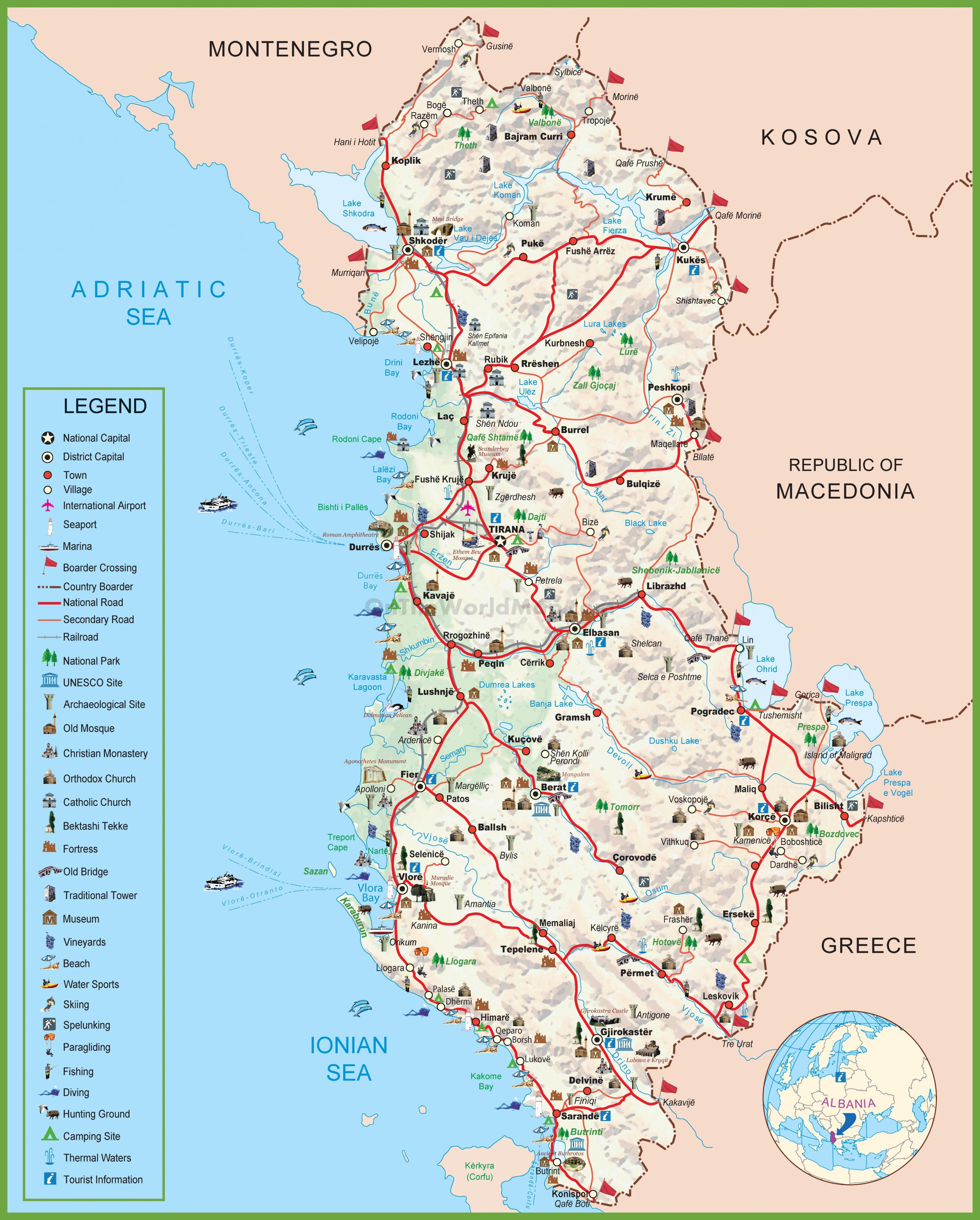karta albanije Karta Albanije kartica шкиперия Albanija (Južna Europa   Europa) karta albanije